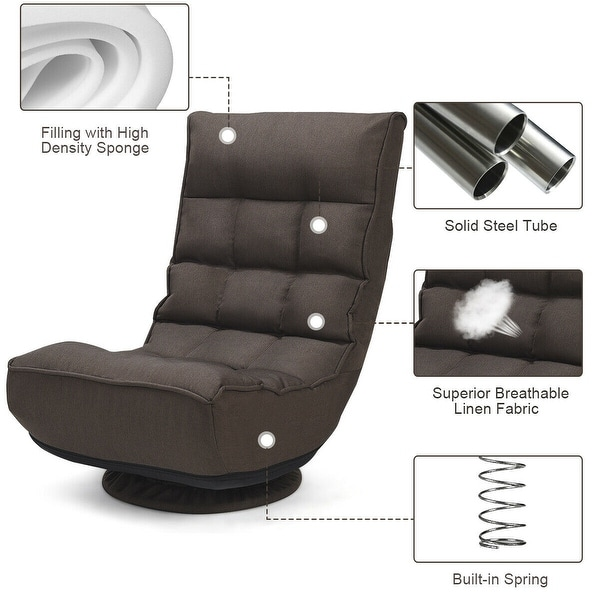 Lazy Sofa Chair Game Rocker for Teens Adults Comfortable Padded Backrest 330lb Spring Support 4-Position Adjustable Folding Floor Chair Black Giantex 360 Degree Swivel Gaming Chair