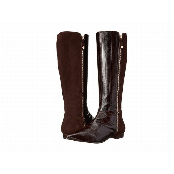 J. Renee NEW Dark Brown Shoes Size 9W Mid-Calf Zipped Boots