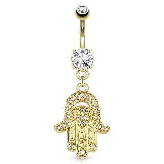 Hamsa Gem Paved Dangle 14Kt Gold Plated Navel Belly Button Ring
