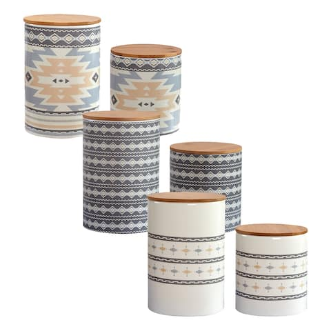 HiEnd Accents Desert Sage, Large Aztec, and Small Aztec Canister 6 PC Set
