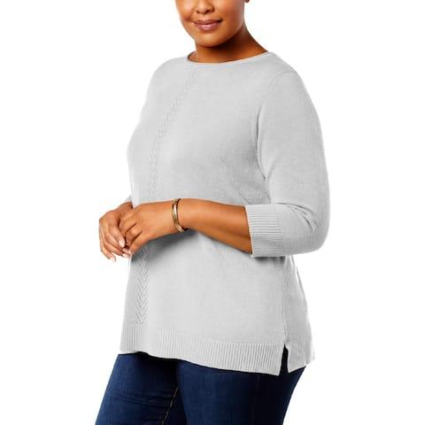 Karen Scott Womens Plus Pullover Sweater Pointelle Heathered