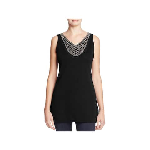 Nic + Zoe Womens Tank Top Sweater Beaded V-Neck