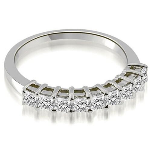 0.90 cttw. 14K White Gold Prong Set Princess Cut Diamond Wedding Band