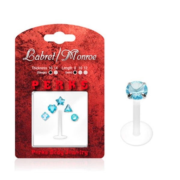 Labret, Monroe, Tragus, and Cartilage with 1 PTFE Shaft and 5 Interchangeable Blue 3mm Push-in Gem Tops