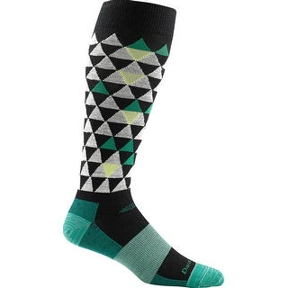 Darn Tough Mens Pinnacle Over-the-Calf Cushion Socks - Made in USA! 1819 - black/green pinnacle