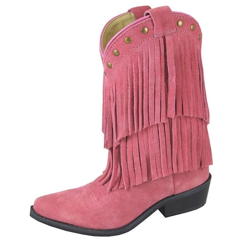 Smoky Mountain Western Boots Girls Wisteria Leather Pull On Pink