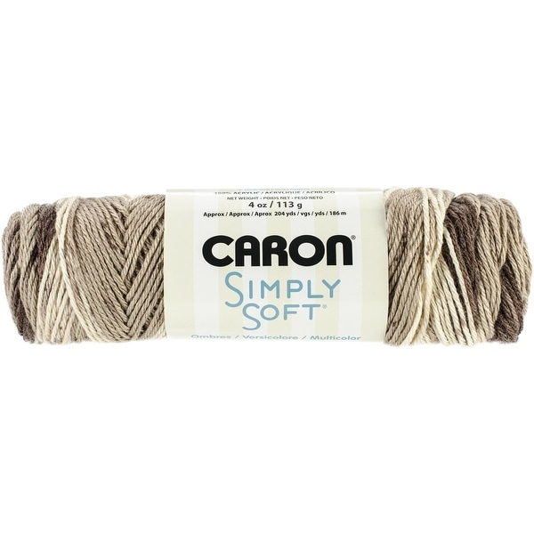 Caron Simply Soft Ombre Yarn, 4 Ounce, Coffee Latte Brown, Single Ball
