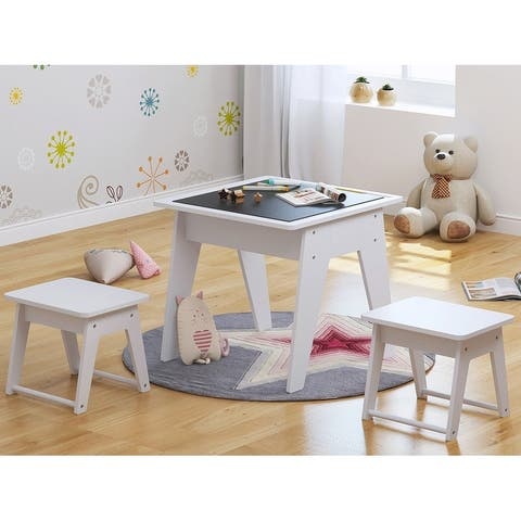 UTEX 2 in 1 Kids Construction Play Table with Storage with Storage, Kid's Multi Activity Table with 2 Chairs Set,White