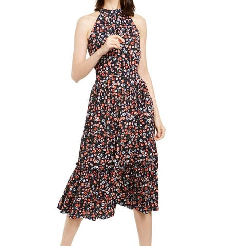 Michael Kors Women's Dress Black Size Small S A-Line Floral Halter