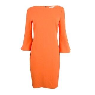 Calvin Klein Women's Plus Size Bell-Sleeve Sheath Dress - Red