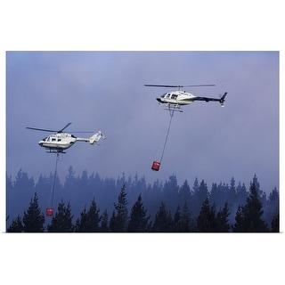 """""""Helicopters fighting forest fire"""" Poster Print"""