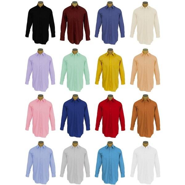 Boys Solid Color Cotton Blend Dress Shirt