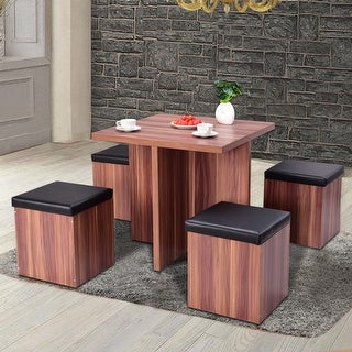 Costway 5 Piece Wood Dining Table Set Kitchen Dinette Table Set Storage Ottoman Stool