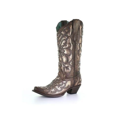 Corral Western Boots Womens Inlay Embroidered Crystals Brown