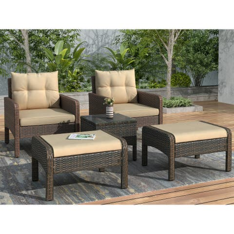 Nestfair 5-Piece Wicker Patio Conversation Set with Coffee Brown Cushions