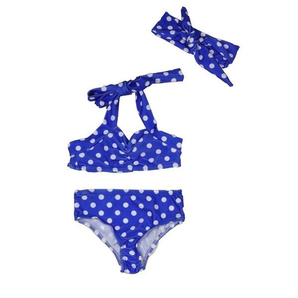 Baby Girls Royal Blue Retro Polka Dot Headband Halter-Tie 3 Pc Swimsuit 6-12M