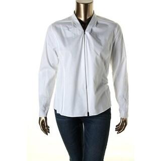 Elie Tahari Womens Verna Front Zip Long Sleeves Blouse - L