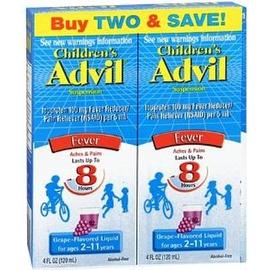 Advil Children's Fever Ibuprofen Liquid Suspension, Grape 8 oz, Twin Pack