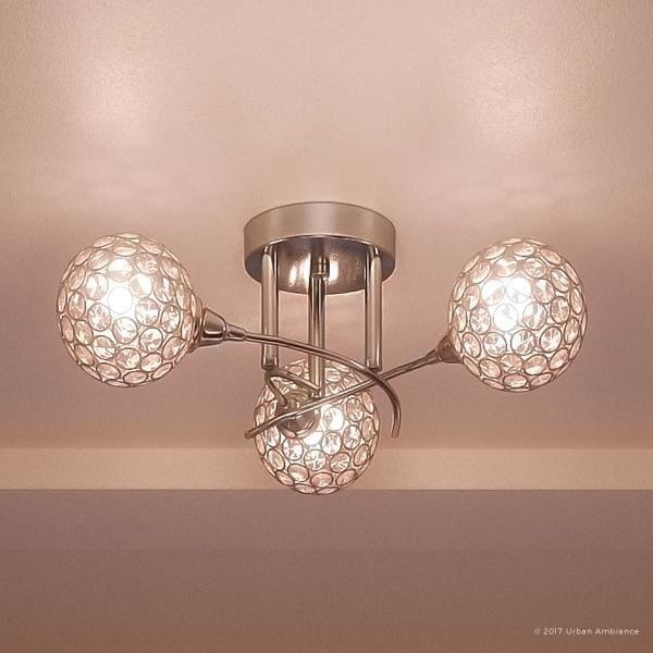 Led Ceiling Light Globe: Shop Luxury Crystal Globe Semi-Flush LED Ceiling Light, 7