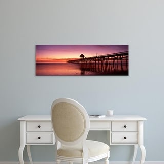 Easy Art Prints Panoramic Image 'Silhouette of a pier, San Clemente Pier, Los Angeles County, California' Canvas Art