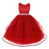 Chic Baby Girls Red Organza Overlaid Pearl Junior Bridesmaid Dress
