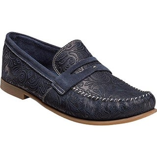 Stacy Adams Men's Florian Penny Loafer 25038 Navy Floral Print Suede