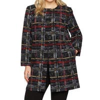 Nine West Black Women's Size 24W Plus Button Plaid Topper Jacket