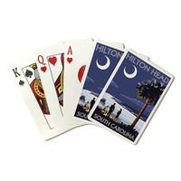 Hilton Head, SC - Beach & Bonfire - LP Artwork (Poker Playing Cards Deck)