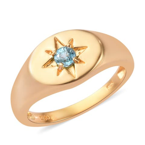 Vermeil Yellow Gold Over Sterling Silver Blue Zircon Ring Mens