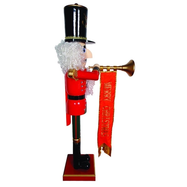 """58"""" Giant Life-Size Merry Christmas Nutcracker with Trumpet and Ribbon Banner - RED"""