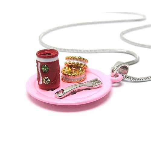 Children's Two Miniature Cookies and Soda San pendant Necklace