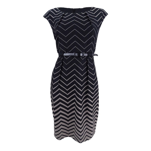 Connected Women's Belted Chevron Sheath Dress - Camel