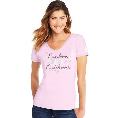 Hanes Explore the Great Outdoors National Park Women's Graphic Tee - Color - Explore Outdoors/Paleo Pink - Size - 2XL