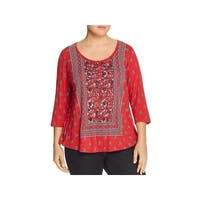 Lucky Brand Womens Plus Henley Top Printed 3/4 Sleeves