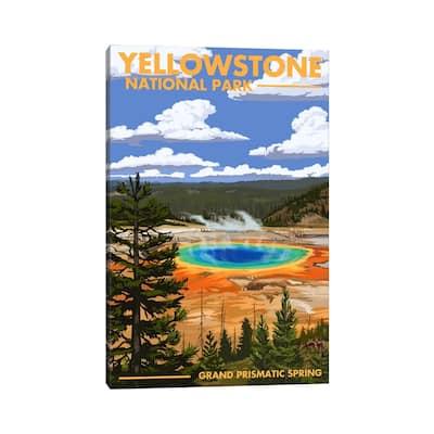 "iCanvas ""Yellowstone National Park (Grand Prismatic Spring)"" by Lantern Press Canvas Print"