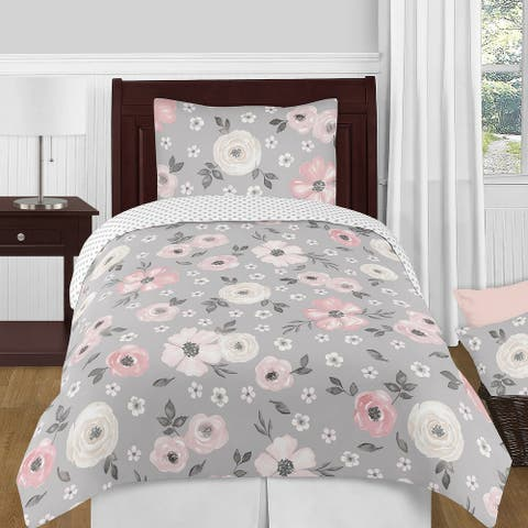 Grey Watercolor Floral Girl 4pc Twin-size Comforter Set - Blush Pink Gray White Shabby Chic Rose Flower Polka Dot Farmhouse