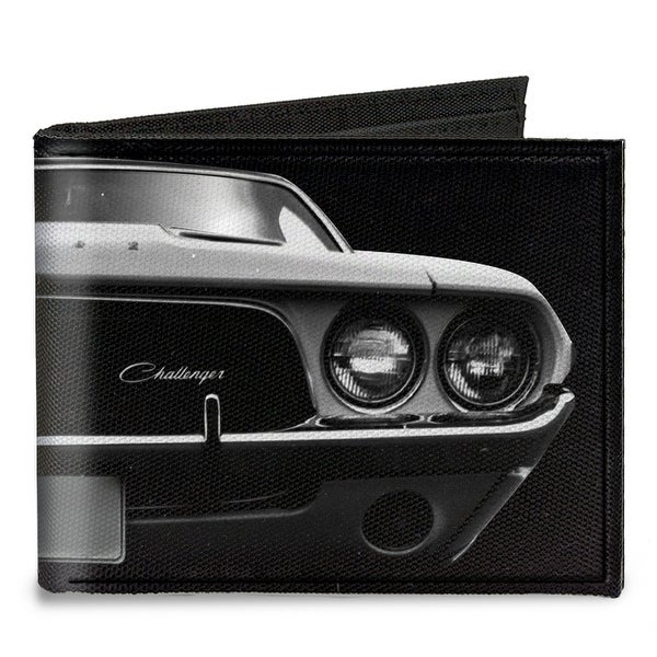1976 Challenger Black & White Canvas Bi Fold Wallet One Size - One Size Fits most