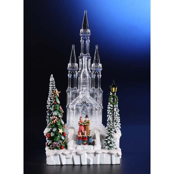 "Pack of 2 Icy Crystal Illuminated Christmas Church with Choir Figurines 10"" - CLEAR"