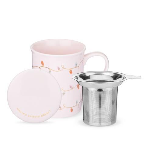 Annette Lights Pink Ceramic Tea Mug & Infuser by Pinky Up