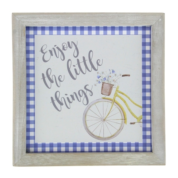 """7"""" Yellow And White Vintage Bicycle """"Enjoy The Little Things"""" Blue Plaid Accent Wall Decor - N/A"""