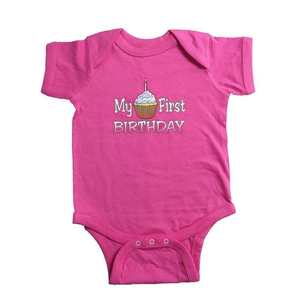 045d1a5318b32 Nicky Noodles Baby Girls' My First Birthday Short Sleeve Bodysuit
