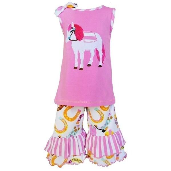 AnnLoren Baby Girls Pink Pony Boot Stripe Print Ruffle Capri Outfit