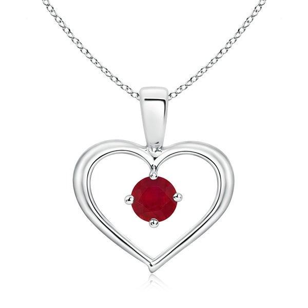 Angara Solitaire Round Ruby Open Heart Pendant