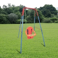 Costway Kids Toddler Children Swing Seat Chair Outdoor For Backyard Playground w/Rope - as pic