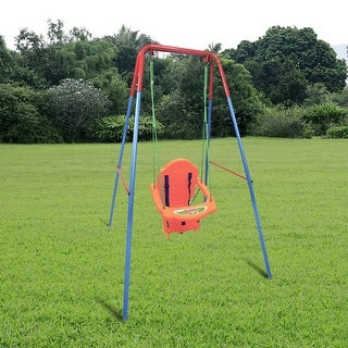 Costway Kids Toddler Children Swing Seat Chair Outdoor For Backyard Playground w/Rope - Orange