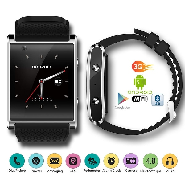 017604dd6 Indigi® 3G Smartwatch Phone Android 4.4 WiFi Google Play Store Heart-Rate  Monitor (