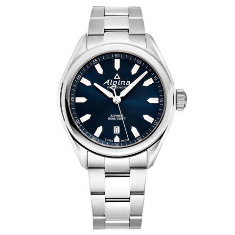 Alpina men's al-240ns4e6b 'alpiner' blue dial stainless steel swiss quartz watch
