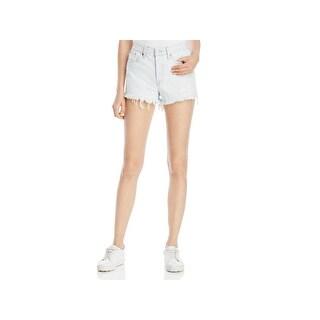 Levi's Womens Denim Shorts High Rise Frayed Hem