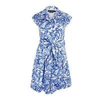 Lauren Ralph Lauren Women's  Pleated Floral Print Shirt Dress - White/Blue