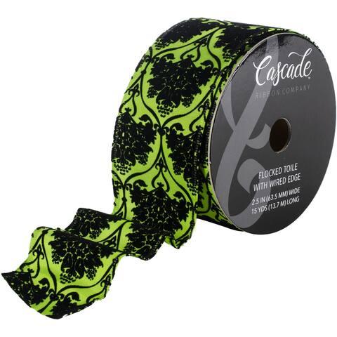 "Cascade Textured Satin Ribbon W/Wired Edge 2.5""X15yd-Black Flocking, Toile Pattern On Green - Black"